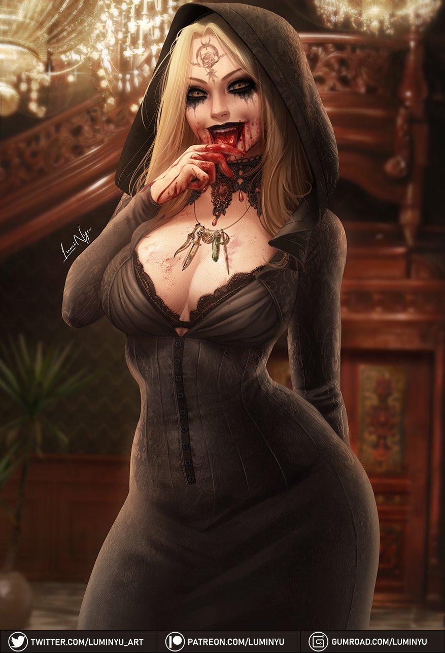 Красивая подборка откровенных артов на Димитреску и её дочь Даниэлу из Resident Evil: Village