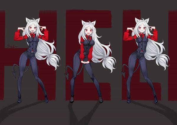 Пятничный арт Helltaker — Модеус, Цербер, Пандемоника и девушки