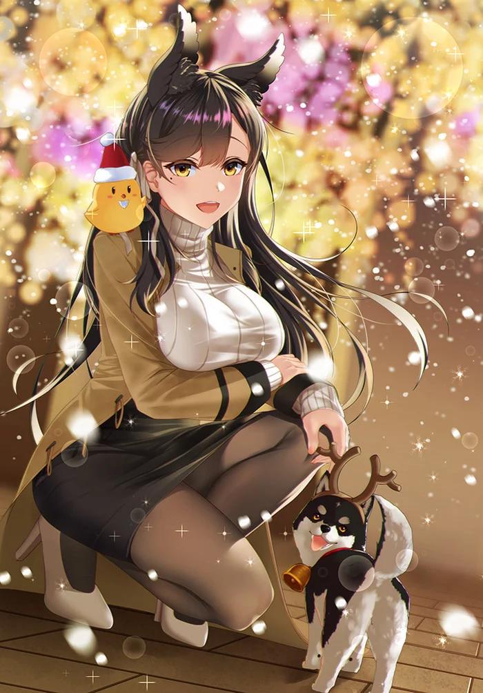 Арт на Атаго из Azur Lane (девушка, корабль, аниме)