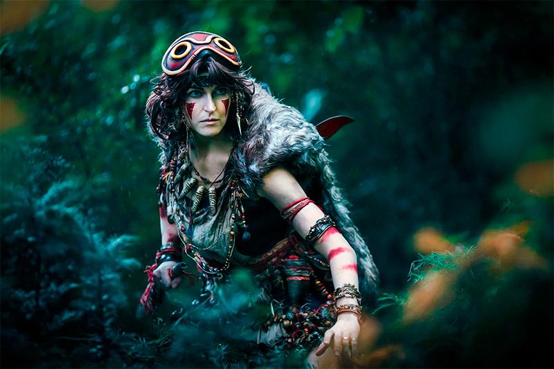 Модель bakkacosplay в альтернативном образе Принцесс Мононоке из одноименного аниме-фильма. Фотограф Sosayweal